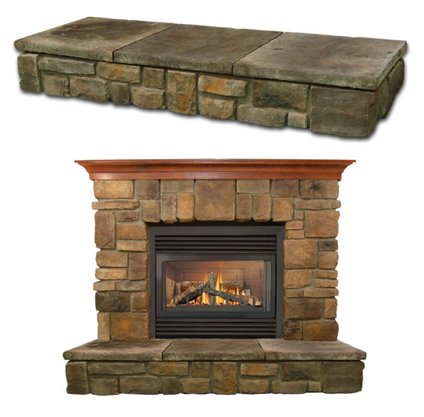 elk ridge fireplace stone mantel vertical