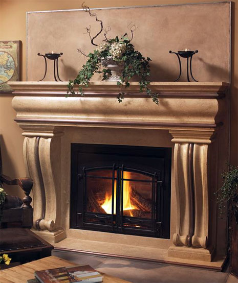 1106.536 Cast stone fireplace mantel