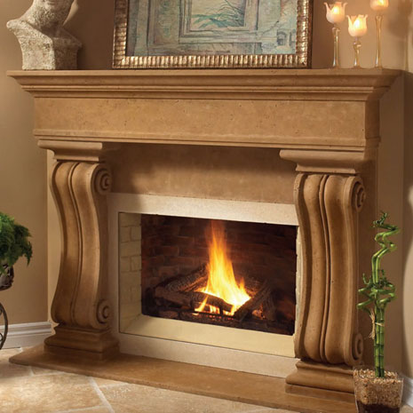 1110.538 Cast stone fireplace mantel