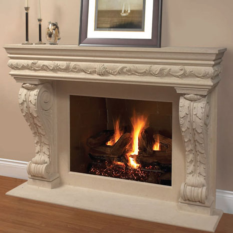 1136.11.545 Cast stone fireplace mantel