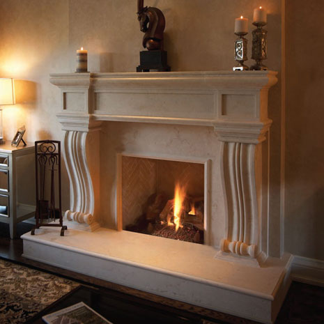 1143.536 Cast stone fireplace mantel