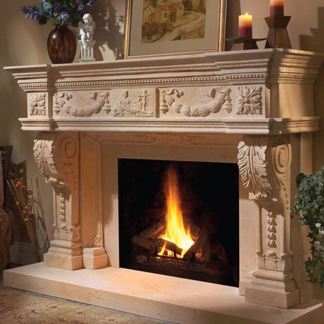 1152.546 Cast stone fireplace mantel