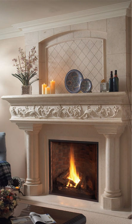 CALEDON Cast stone fireplace mantel
