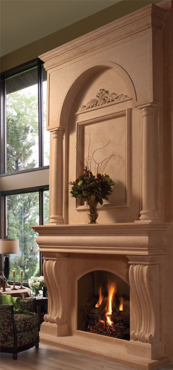 COLONIAL Cast stone fireplace mantel