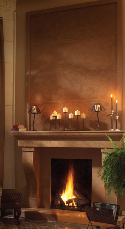 CORTESSA Cast stone fireplace mantel