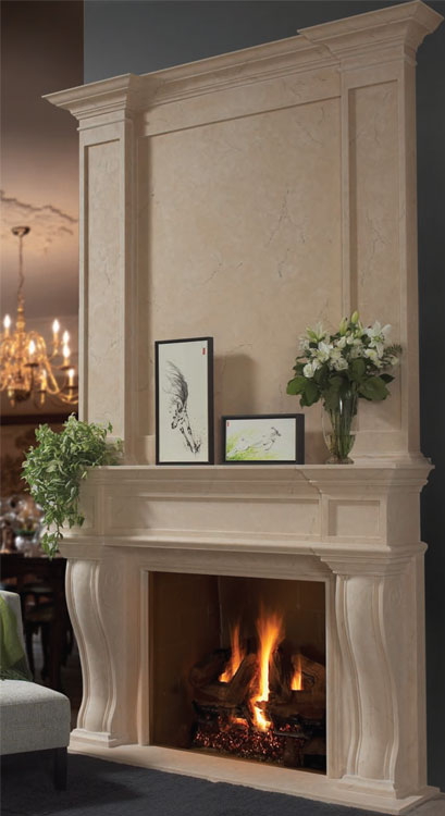 FRESNO Cast stone fireplace mantel