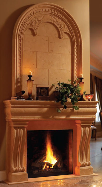 MONACO Cast stone fireplace mantel