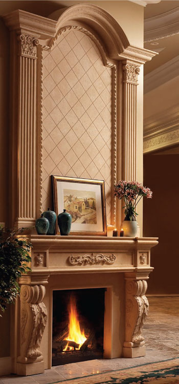 ROYAL Cast stone fireplace mantel