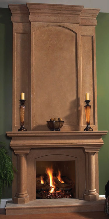 TREVI fireplace stone mantel Vertical Dimension