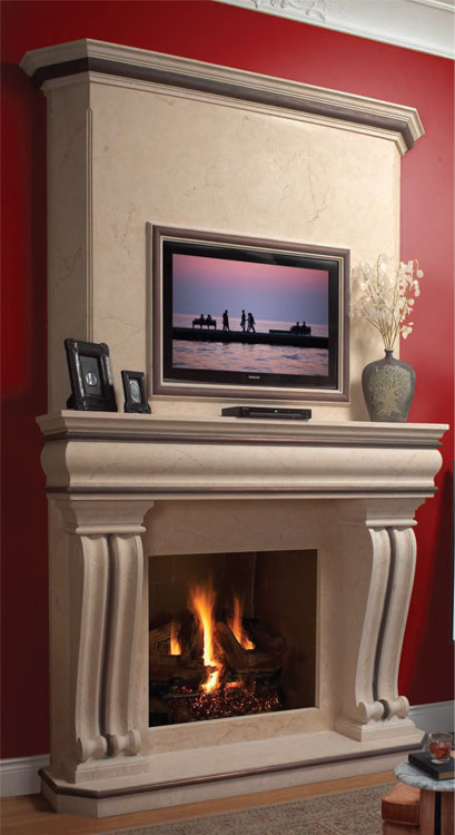 TUSCAN Cast stone fireplace mantel