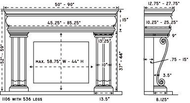 1106.536 stone fireplace mantel spec sheet