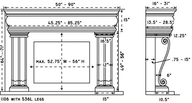 1106.536L stone fireplace mantel spec sheet