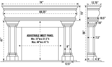 1106.555 stone fireplace mantel spec sheet