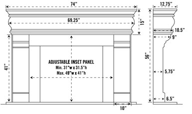 1106.556 stone fireplace mantel spec sheet