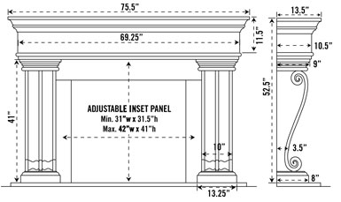 1110.536 stone fireplace mantel spec sheet