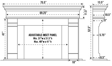 1110.556 stone fireplace mantel spec sheet