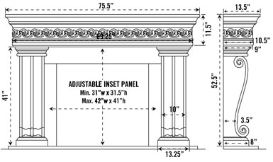 1110S.536 stone fireplace mantel spec sheet