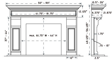 1111.511 stone fireplace mantel spec sheet