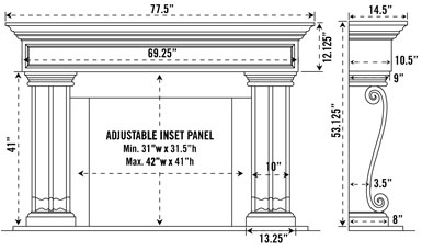 1111.536 stone fireplace mantel spec sheet