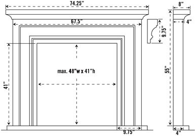 1114L stone fireplace mantel spec sheet