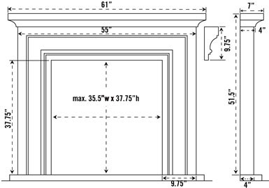 1114S stone fireplace mantel spec sheet