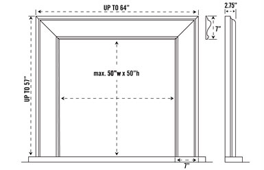 1115.7 stone fireplace mantel spec sheet