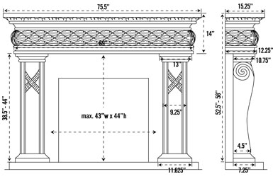1127.577 stone fireplace mantel spec sheet