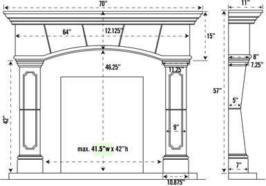 Fireplace Mantel Dimensions Standard Fireplaces