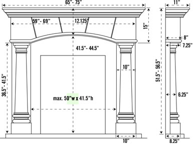 Fireplace Mantel Spec Sheet Click Here For Custom Dimensions