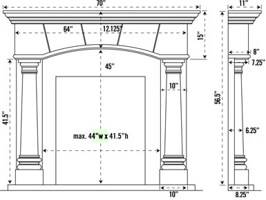 1130.70.531 stone fireplace mantel spec sheet