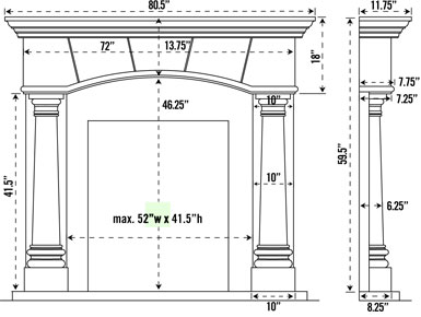 1130.80.531 stone fireplace mantel spec sheet