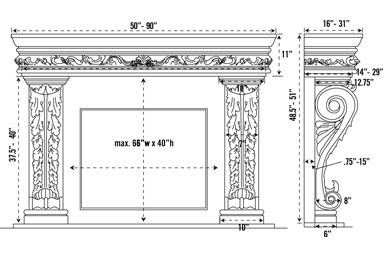 1136.11.545 stone fireplace mantel spec sheet
