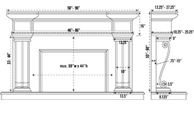 1143.536 stone fireplace mantel spec sheet