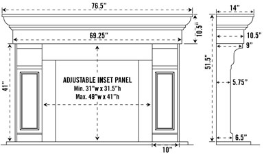 1147.511 stone fireplace mantel spec sheet