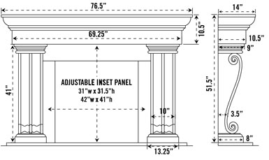 1147.536 stone fireplace mantel spec sheet