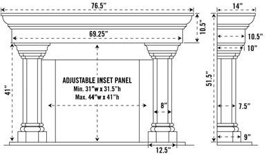 1147.555 stone fireplace mantel spec sheet