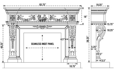 1152.546 stone fireplace mantel spec sheet