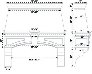 Cast Concrete Kitchen Hood Vertical