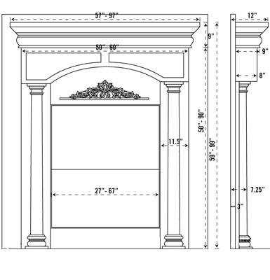 AZZURO Fireplace Stone Mantel Vertical