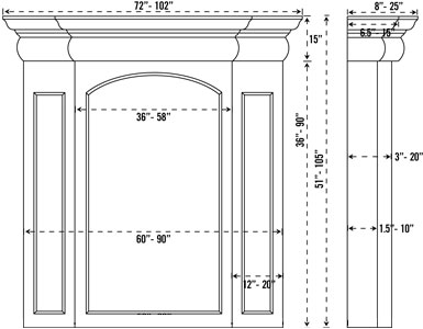 TREVI stone fireplace mantel spec sheet