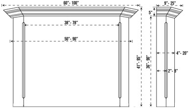 TUSCAN stone fireplace mantel spec sheet