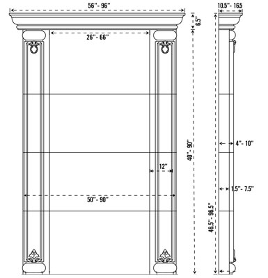 VALENCIA stone fireplace mantel spec sheet