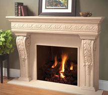 1110.LEAF.534 stone fireplace mantle surround in Philadelphia