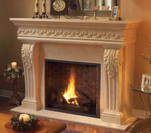 1110.SCROLL.529 stone fireplace mantle surround in Philadelphia