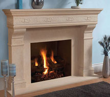 1110.SHELL.557 stone fireplace mantle surround in Philadelphia