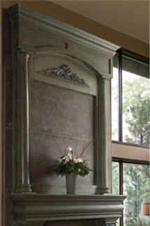 Azzuro stone fireplace overmantle surround in Philadelphia