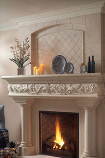 Caledon stone fireplace overmantle surround in Philadelphia