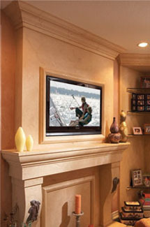 Capri stone fireplace overmantle surround in Philadelphia