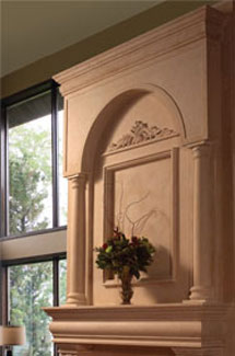 Colonial stone fireplace overmantle surround