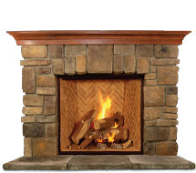Elk-Ridge rustic stone fireplace mantle surround in Philadelphia